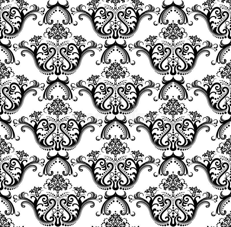 Papel de parede preto & branco sem emenda luxuoso ilustração do vetor