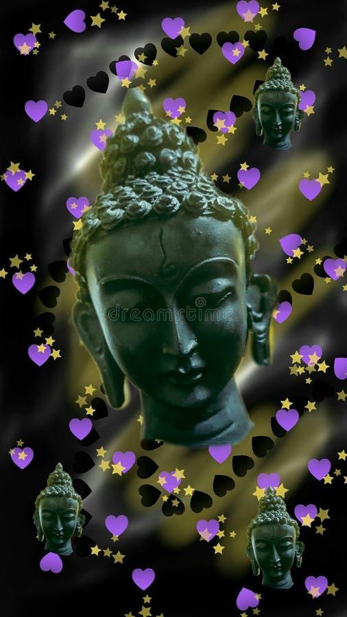 Papel de parede preto Buda com amor por humor escuro e agradável fotografia de stock royalty free