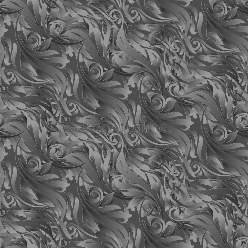 Papel de parede preto-cinzento sem emenda do ornamento Ornamento frondoso Fundo ilustração do vetor