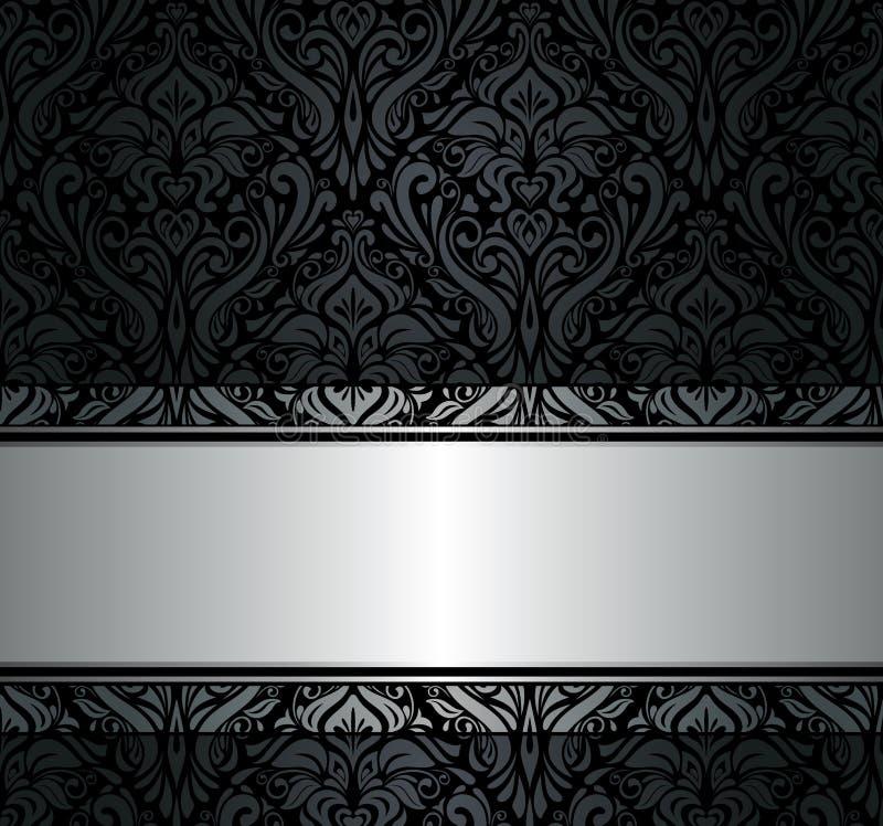 Papel de parede preto & de prata do vintage ilustração stock