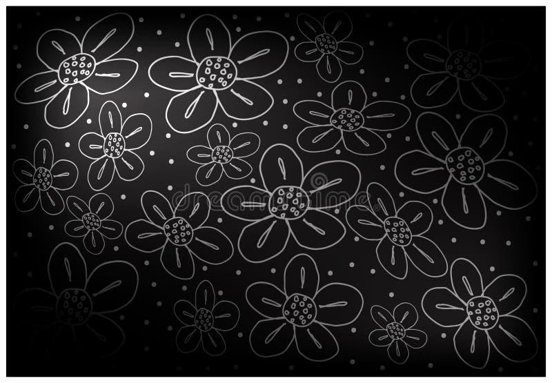Papel de parede preto do vintage com fundo do teste padrão de flor ilustração stock