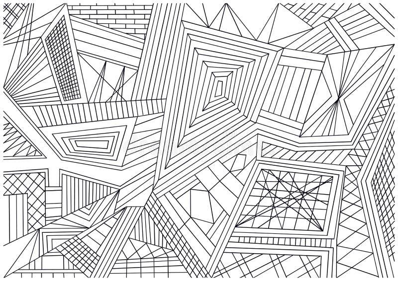Papel de parede preto e branco das telhas de mosaico ilustração do vetor