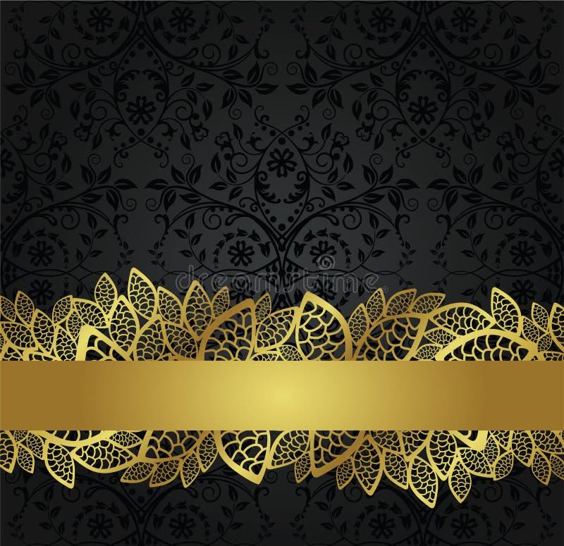 Papel de parede preto sem emenda e bandeira dourada do laço ilustração royalty free