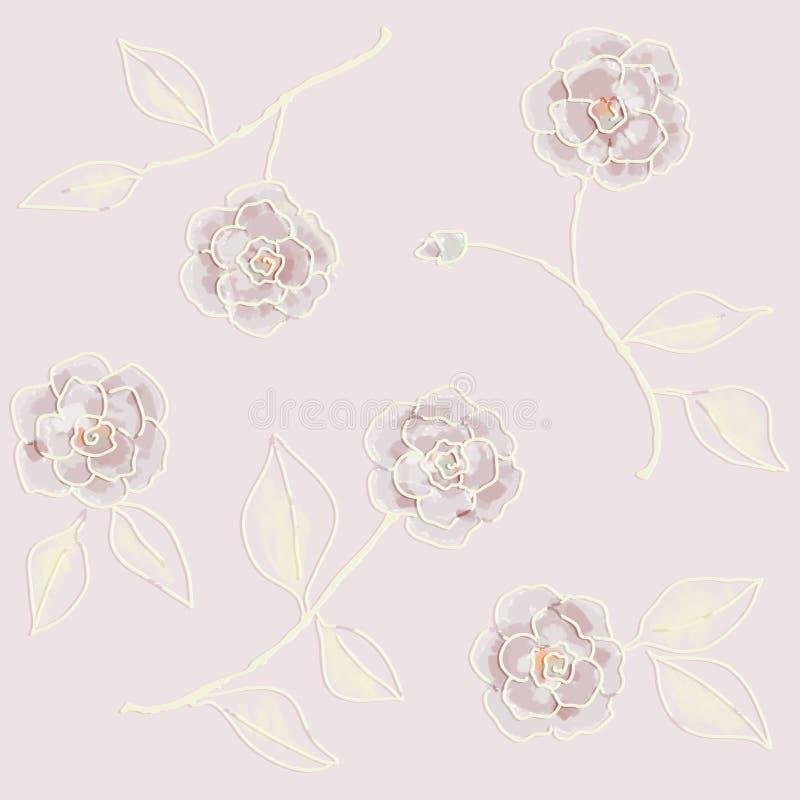 Papel de parede retro As flores tiradas mão pintaram Os testes padrões sem emenda bitmap ilustração do vetor