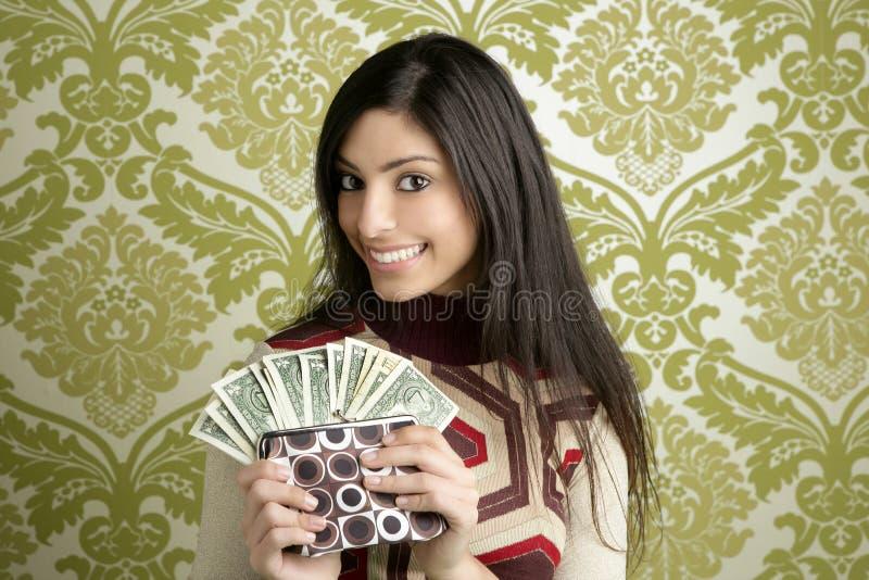 Papel de parede retro do vintage da mulher do dólar da bolsa fotos de stock royalty free