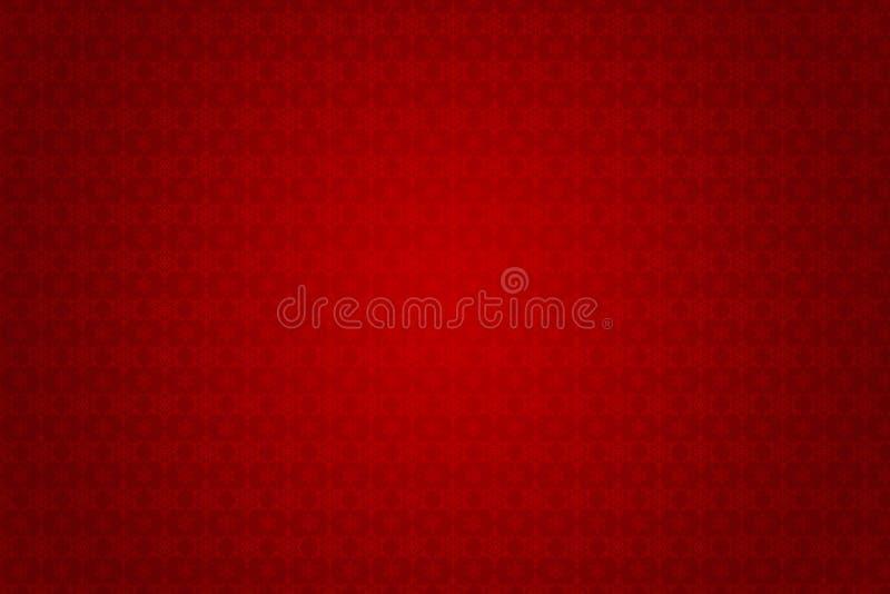 Papel de parede retro vermelho com design floral do victorian ilustração stock