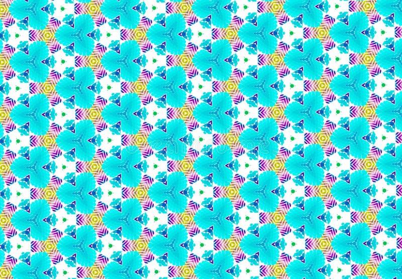 Papel de parede roxo azul cor-de-rosa do teste padrão de flor imagens de stock