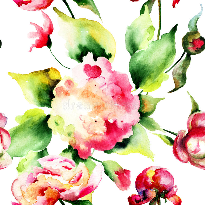 Papel de parede sem emenda com as flores selvagens bonitas ilustração royalty free
