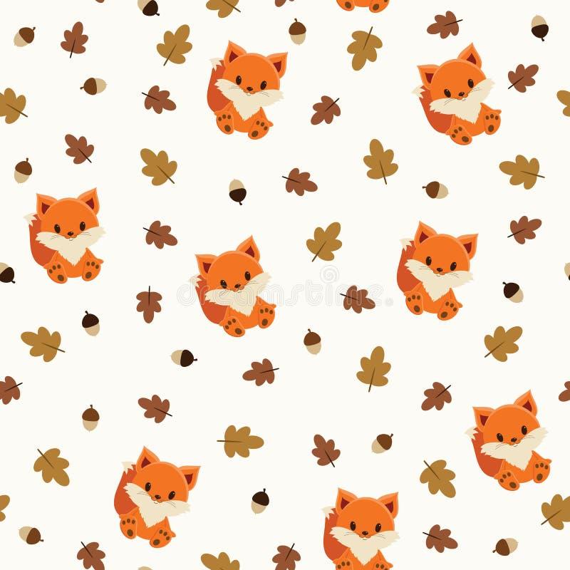 Papel de parede sem emenda da raposa do bebê ilustração royalty free