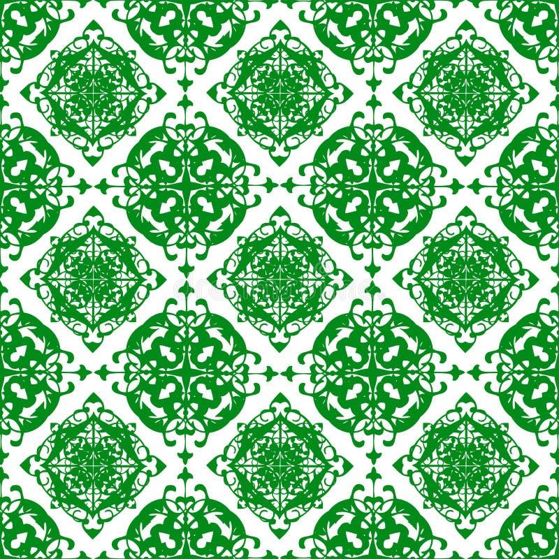 Papel de parede sem emenda da textura do teste padrão do sumário floral real verde bonito oriental decorativo da mola do vintage ilustração do vetor