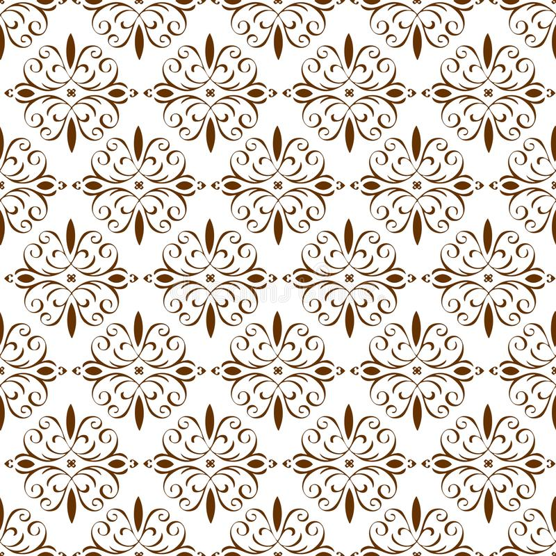 Papel de parede sem emenda da textura do teste padrão do sumário real bonito floral oriental decorativo da mola do vintage de Bro ilustração do vetor