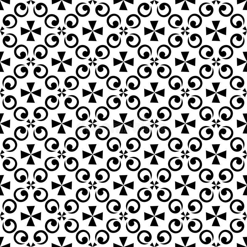 Papel de parede sem emenda da textura do teste padrão do sumário real bonito floral preto oriental decorativo da mola do vintage ilustração stock