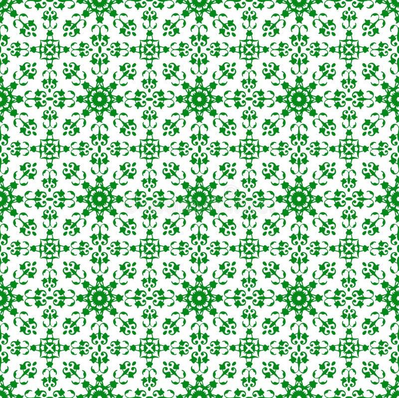 Papel de parede sem emenda da textura do teste padrão do sumário real bonito floral verde oriental decorativo da mola do vintage fotografia de stock