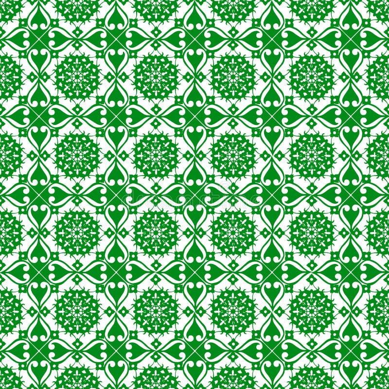 Papel de parede sem emenda da textura do teste padrão do sumário real bonito verde oriental decorativo floral da mola do vintage ilustração royalty free