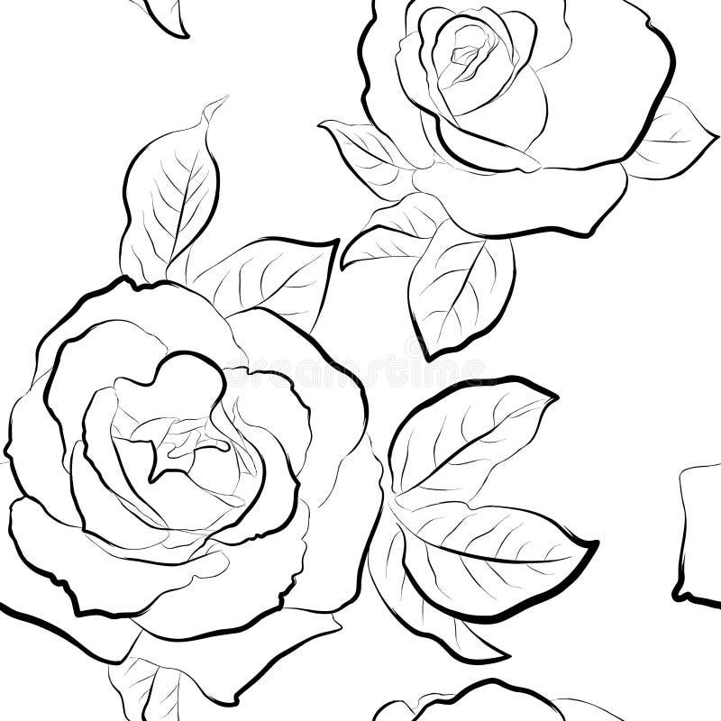 Papel de parede sem emenda das rosas ilustração royalty free