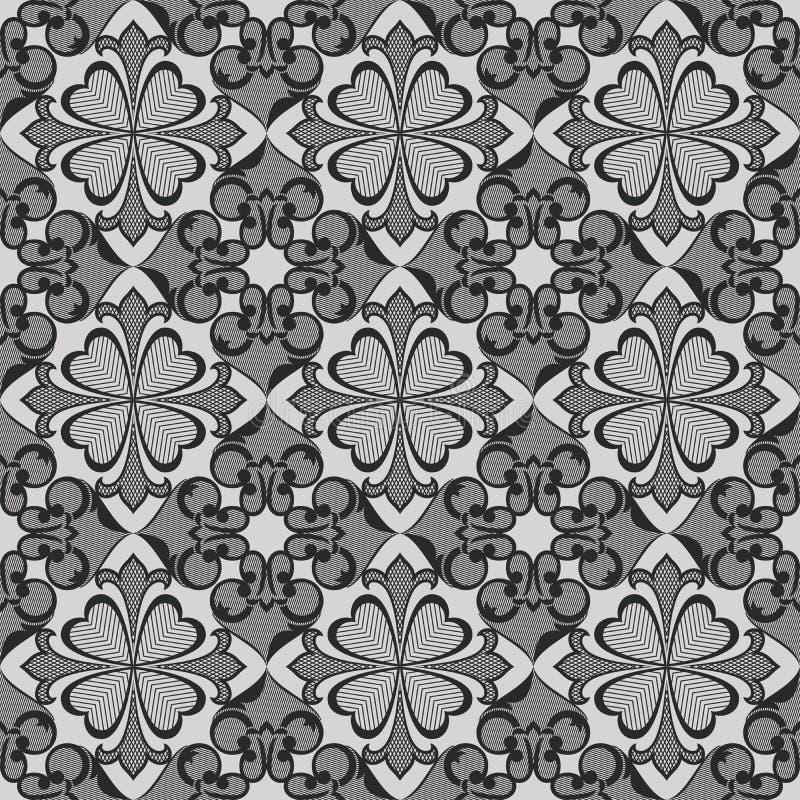 Papel de parede sem emenda do monochrome da flor ilustração royalty free