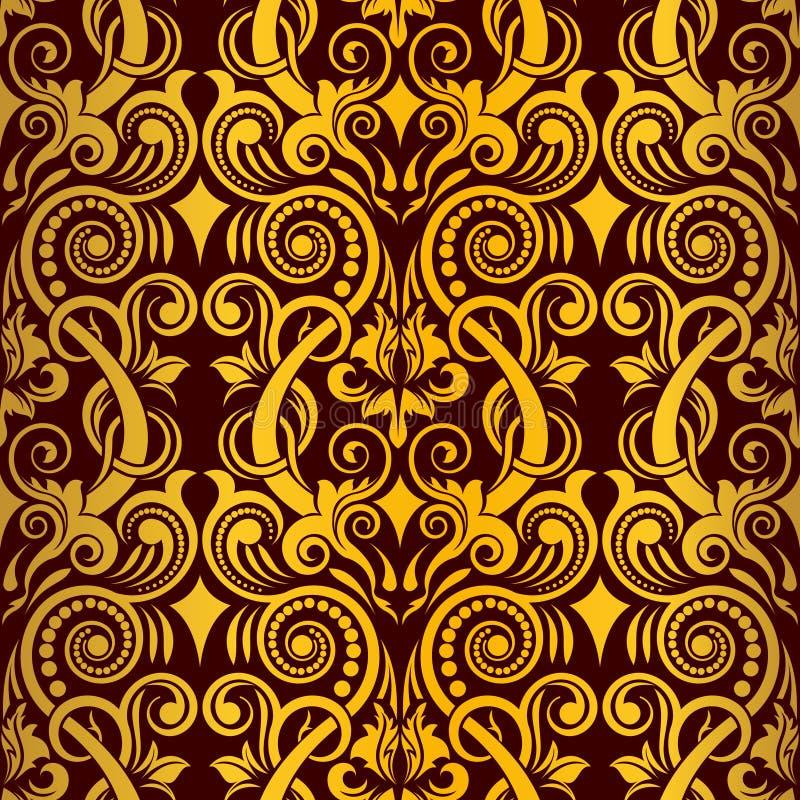 Download Papel De Parede Sem Emenda Do Ouro Ilustração do Vetor - Ilustração de damask, decorativo: 12809261