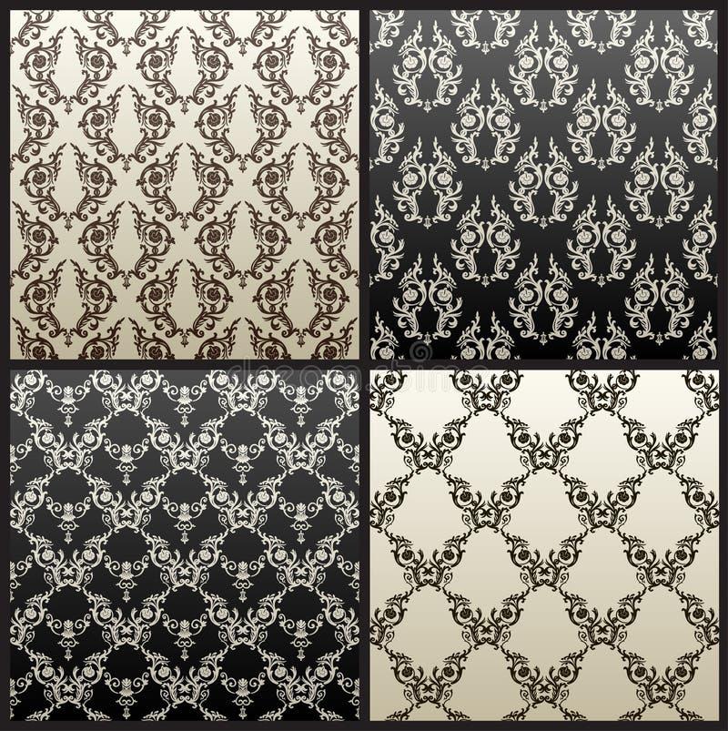 Papel de parede sem emenda do preto do fundo do vintage do vetor ilustração royalty free
