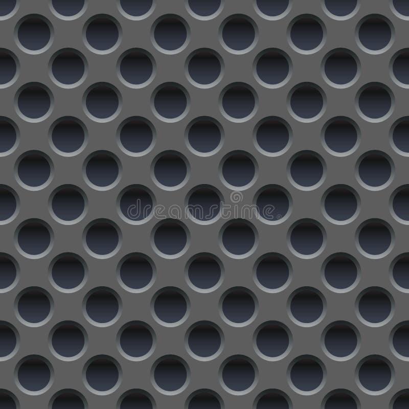 Papel de parede sem emenda do vetor de placa de metal cinzenta perfurada ilustração stock