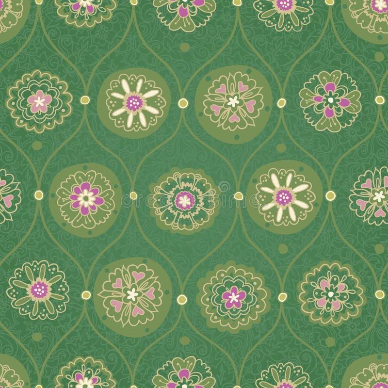 Papel de parede sem emenda do vintage com ornamento floral. ilustração do vetor
