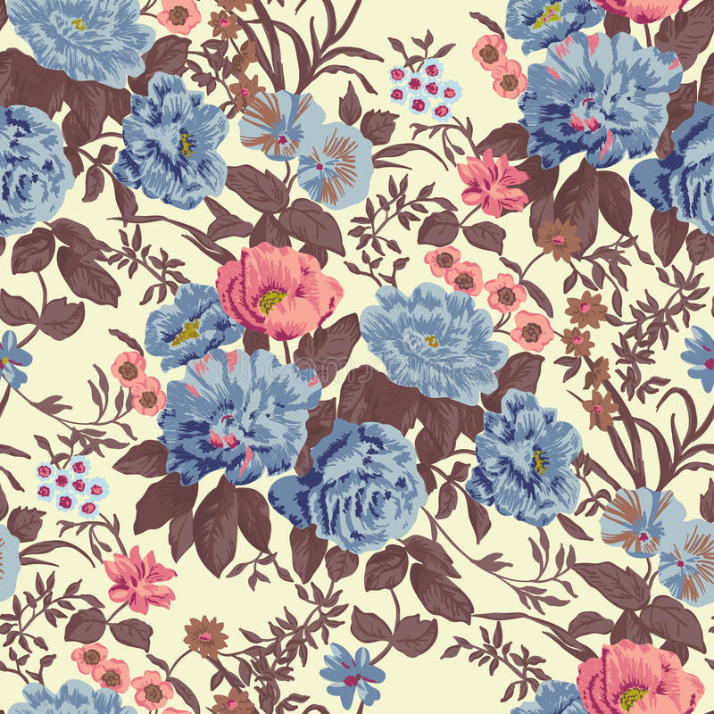 Papel de parede sem emenda floral ilustração royalty free