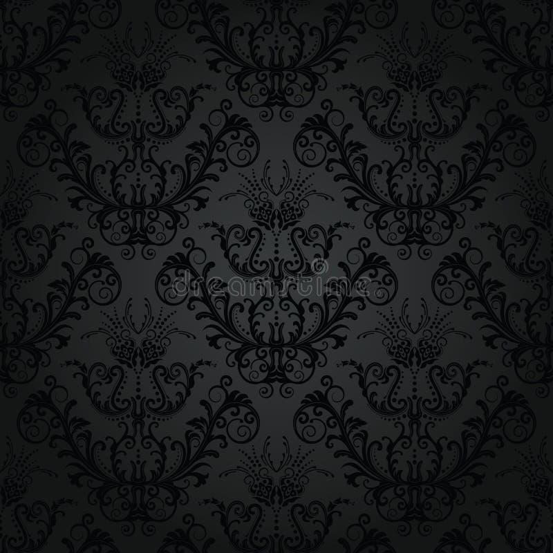 Papel de parede sem emenda floral do carvão vegetal ilustração stock