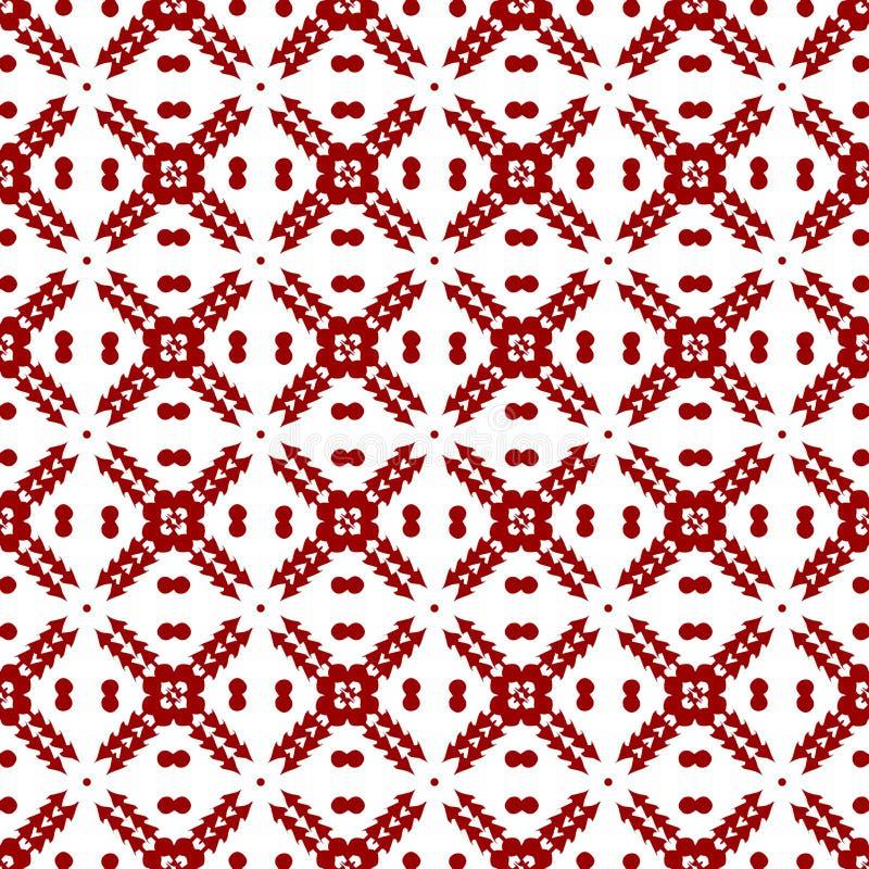 Papel de parede sem emenda geométrico floral bonito chinês árabe da textura do teste padrão do vintage real vermelho oriental dec ilustração stock
