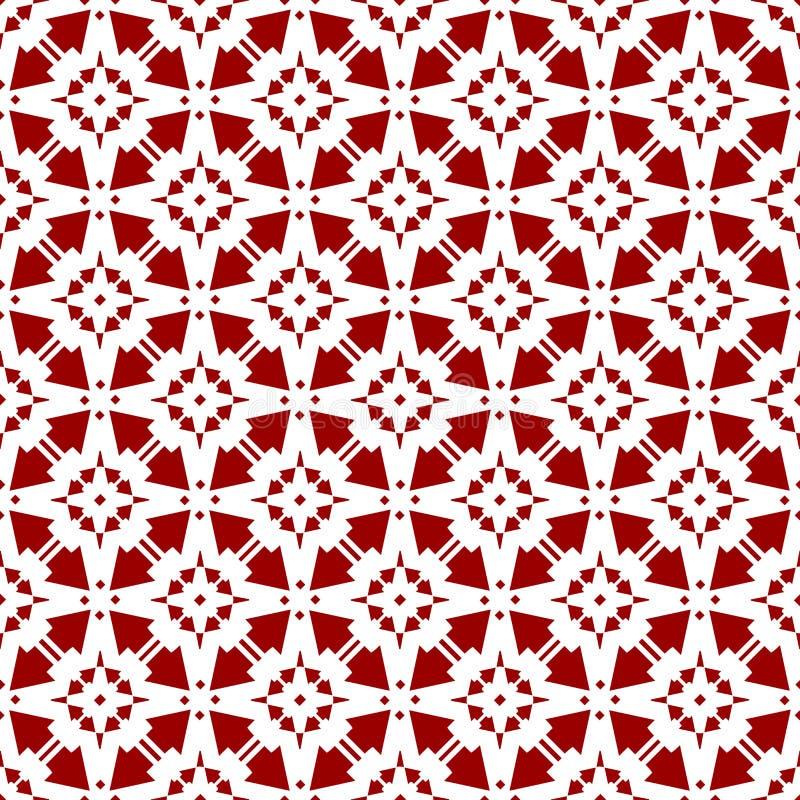 Papel de parede sem emenda geométrico floral chinês árabe da textura do teste padrão do vintage real vermelho oriental decorativo ilustração do vetor