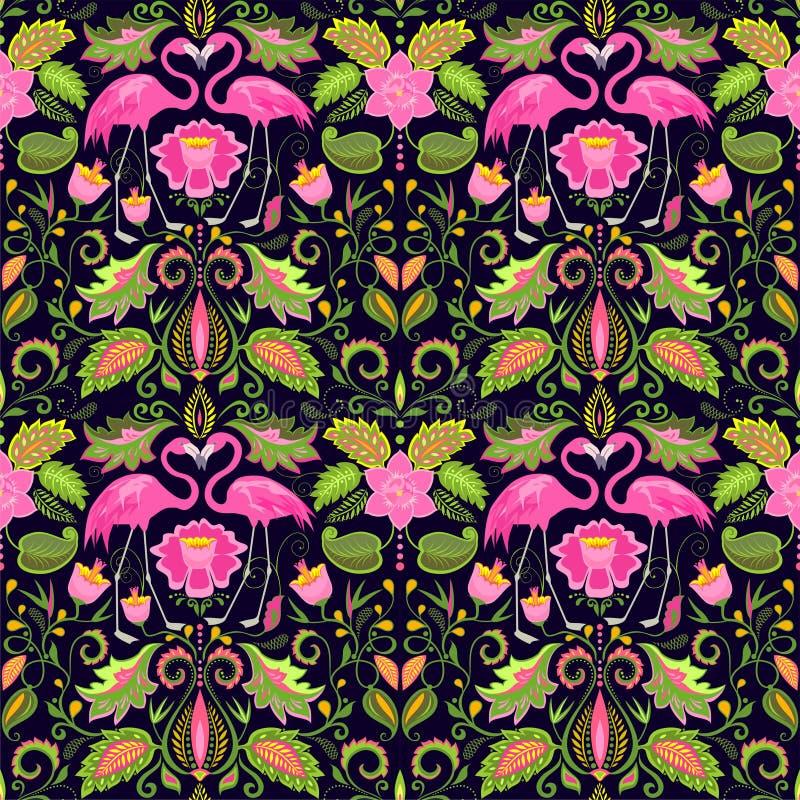 Papel de parede sem emenda havaiano bonito com flores exóticas, as folhas tropicais e o flamingo cor-de-rosa para o projeto do ca ilustração stock