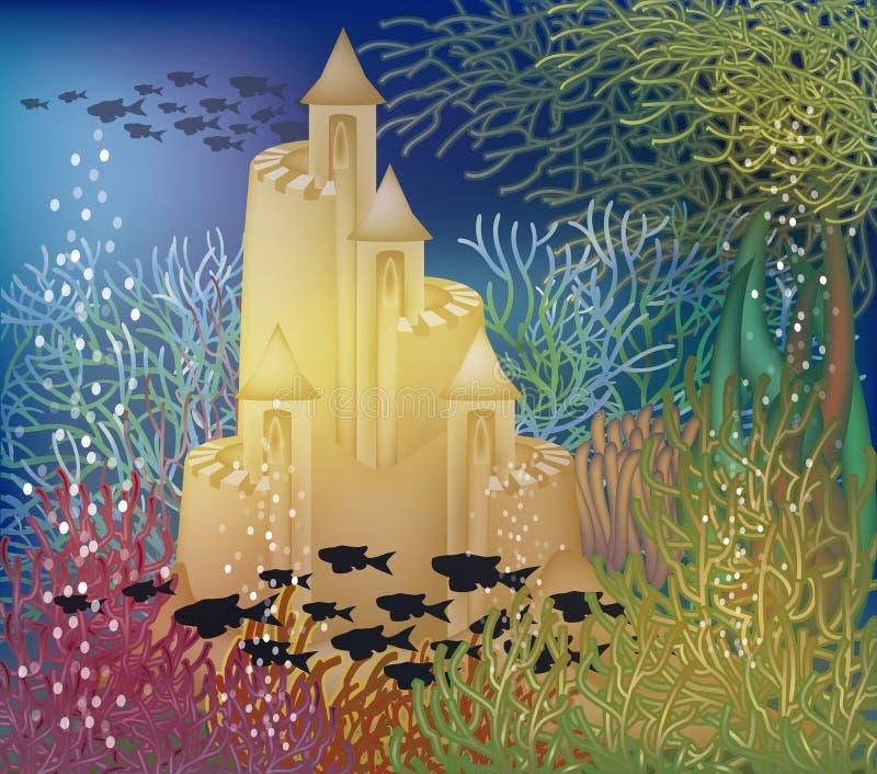 Papel de parede subaquático com castelo de areia ilustração do vetor