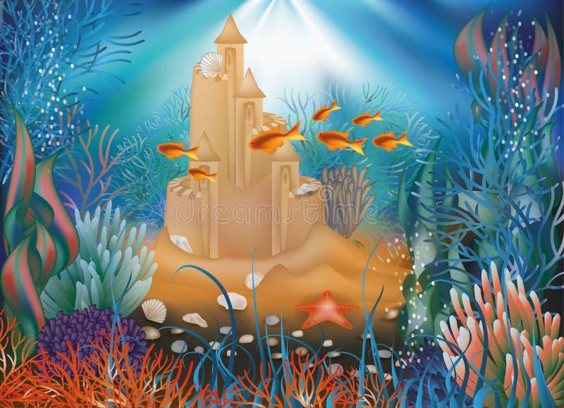 Papel de parede subaquático do mundo com castelo de areia ilustração do vetor