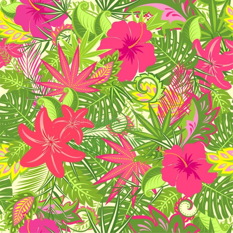 Papel de parede tropical com as flores do lírio e do hibiscus, o monstera, o ramo da palma e as folhas exóticas para a tela, maté ilustração stock