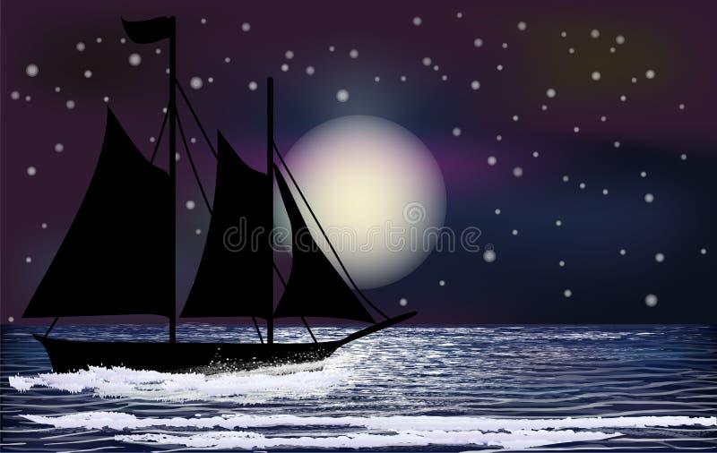Papel de parede tropical da noite com embarcação de navigação ilustração do vetor