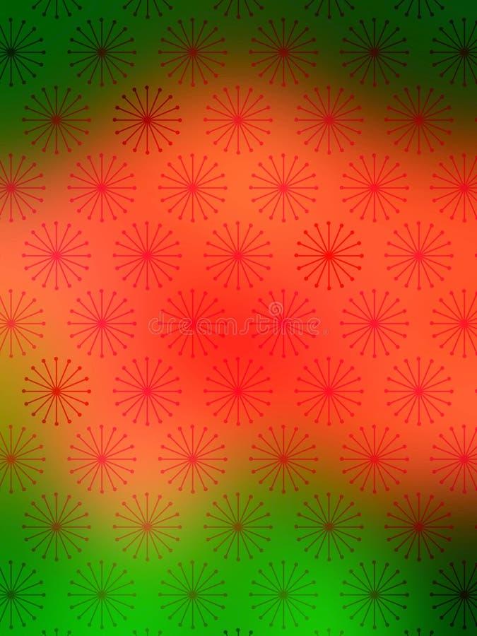 Papel de parede verde vermelho dos flocos da neve ilustração stock