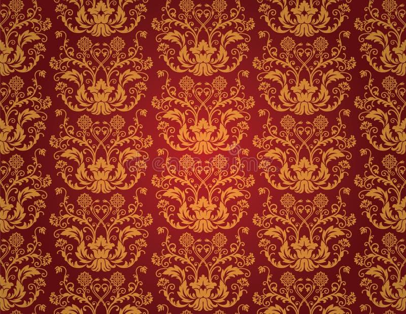 Papel de parede vermelho sem emenda do vintage ilustração stock