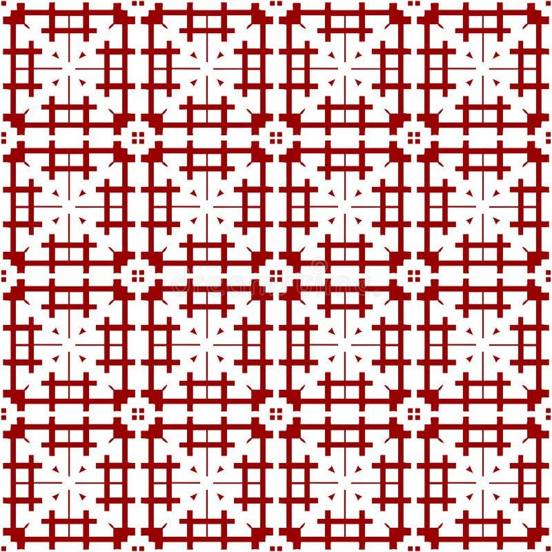 Papel de parede vermelho transparente chinês árabe da textura do teste padrão do vintage real sem emenda floral abstrato decorati ilustração stock