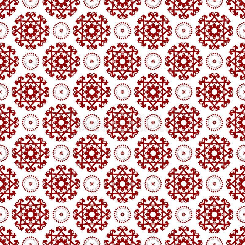 Papel de parede vermelho transparente chinês árabe da textura do teste padrão do vintage real sem emenda floral oriental decorati ilustração stock