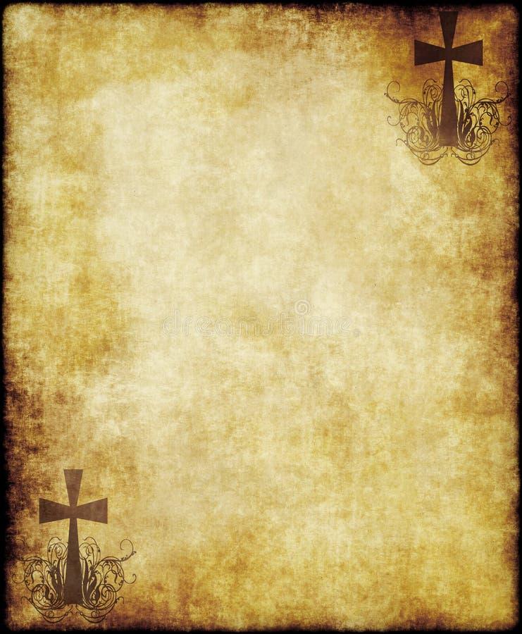Papel de pergaminho velho com cruz ilustração do vetor