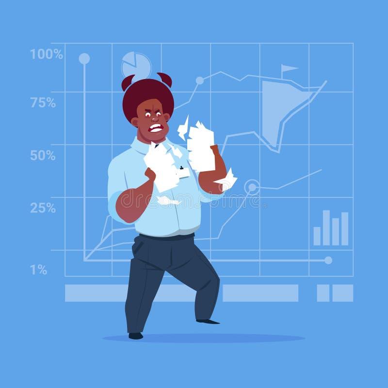 Papel de rasgado afroamericano del hombre de negocios con el documento del contrato que tiene concepto del problema libre illustration