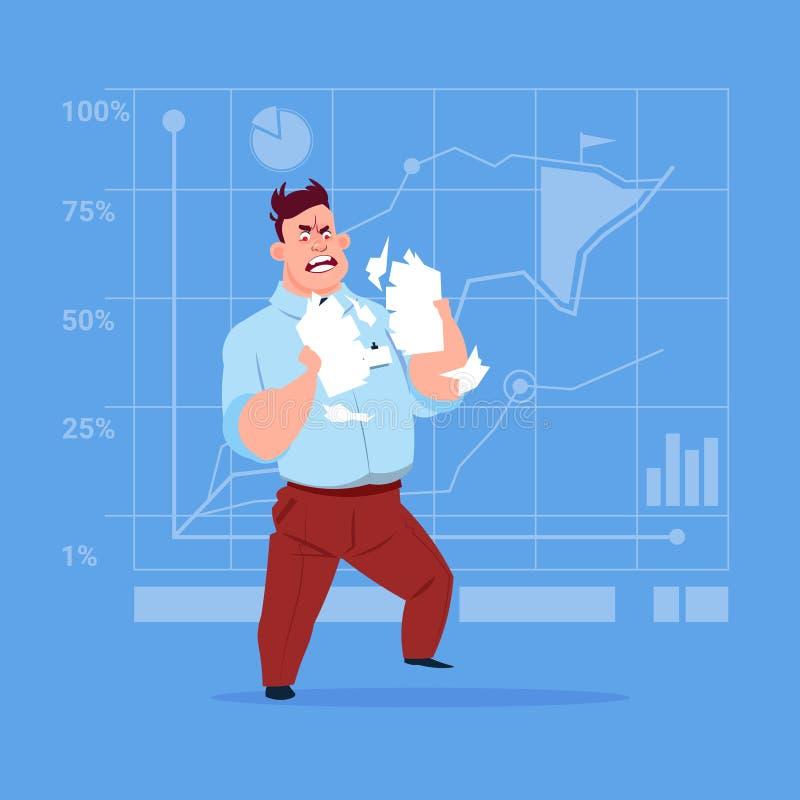Papel de rasgado del hombre de negocios con el documento del contrato que tiene concepto del problema stock de ilustración
