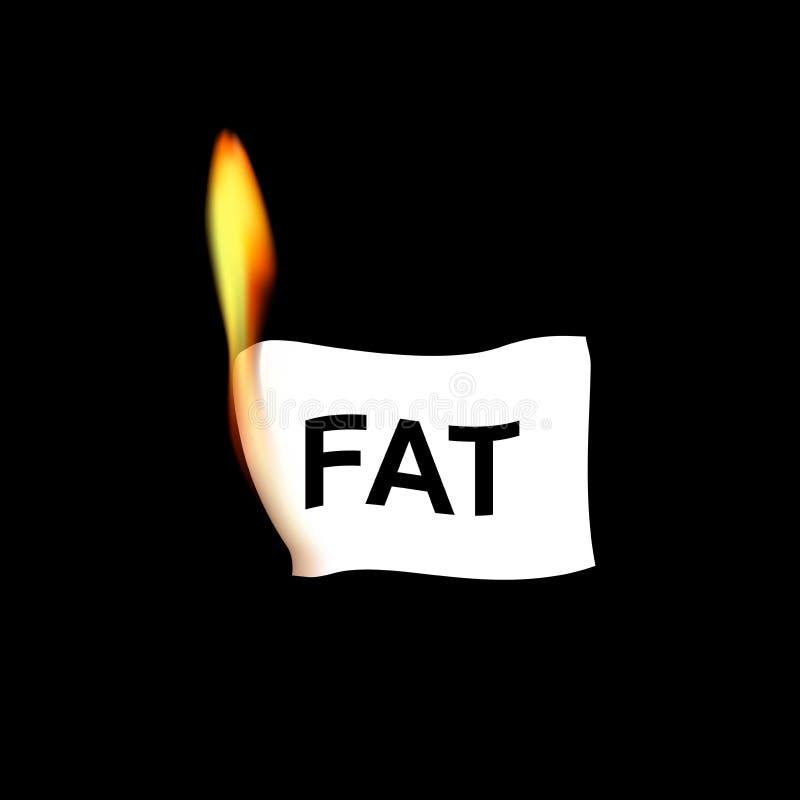 Papel de Realistik com palavra gorda na chama isolada no fundo preto, ilustração quadrada do vetor ilustração do vetor