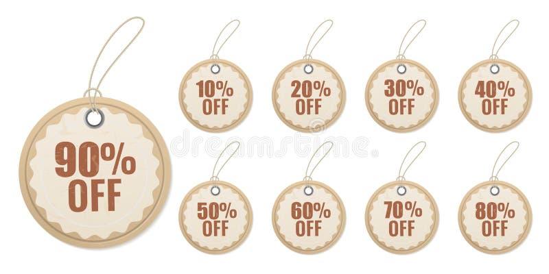 Papel de suspensão do desconto Origâmi que corta o preço especial para o grupo de etiqueta do vetor 3d da etiqueta das vendas ilustração stock