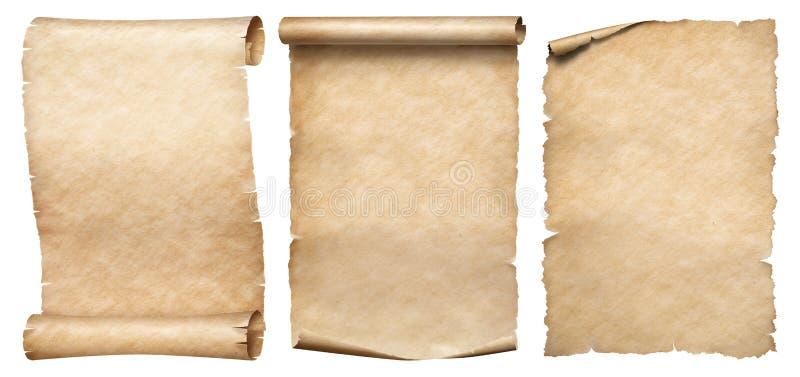 Papel de três vintages ou coleção dos pergaminhos isolada no branco fotografia de stock