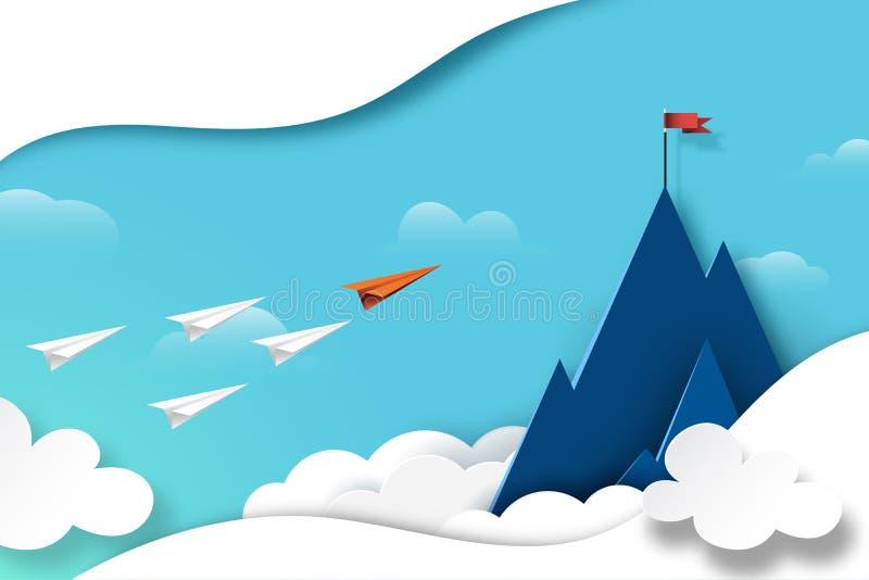 Papel de trabajo en equipo del avión volando a la bandera roja en la cima de la montaña ilustración del vector
