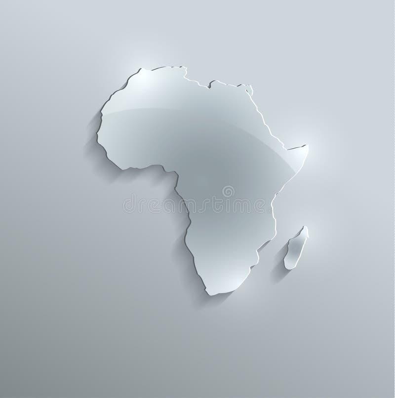Papel de vidro 3D do cartão do mapa de África ilustração royalty free