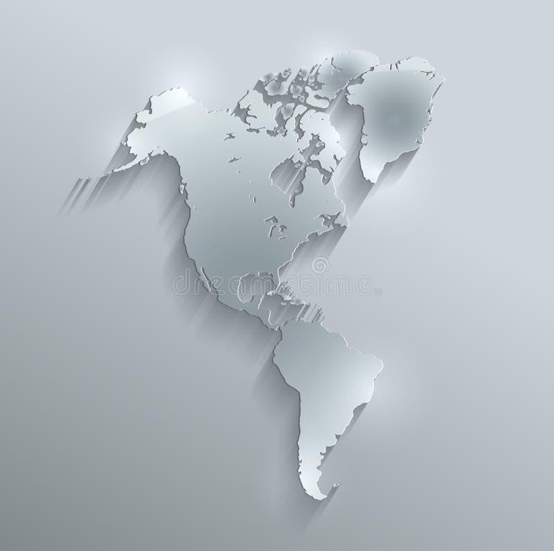 Papel de vidro 3D do cartão do mapa de América ilustração do vetor