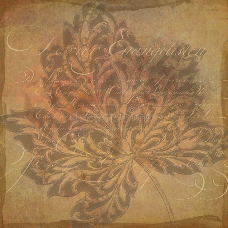 Papel del collage del fondo del vintage - Autumn Leaf Flourish - - caída - neutral apenado - papel de Digitaces fotos de archivo