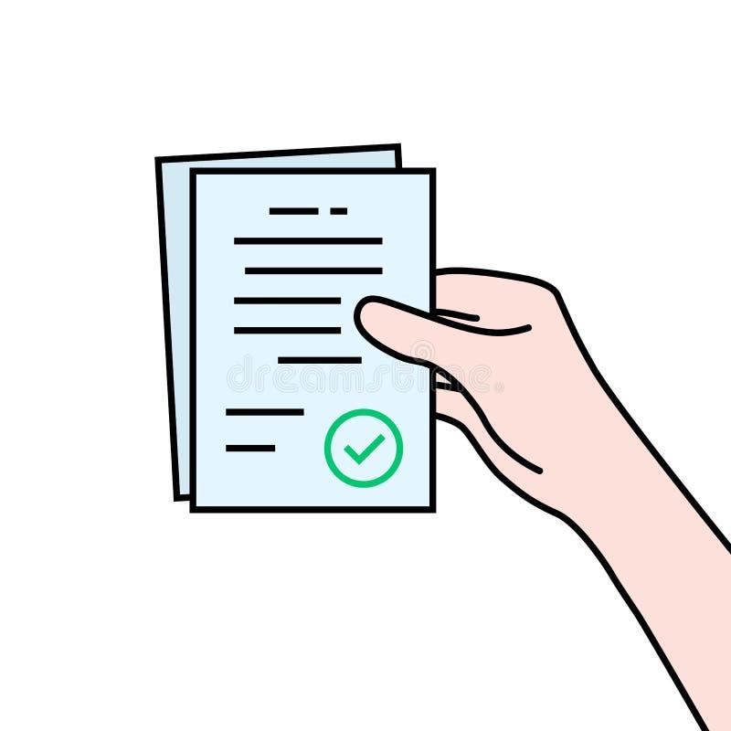 Papel del contrato en mano del contorno libre illustration
