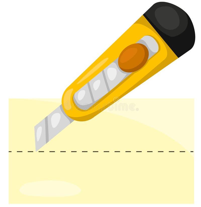 Papel del corte del cuchillo de los efectos de escritorio stock de ilustración