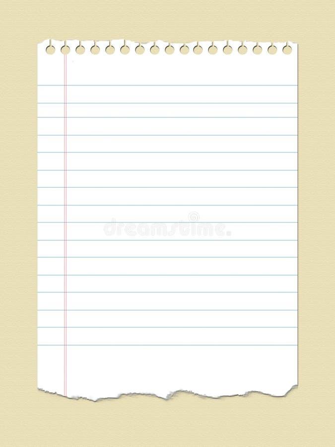 Papel del cuaderno stock de ilustración